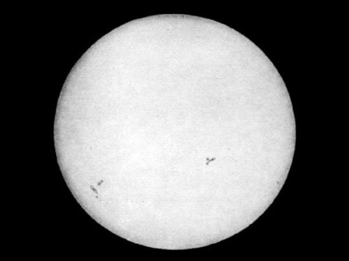 bandh:  This Week in Photography History Oldest surviving image of the sun taken on April 2, 1845. This daguerreotype was created by physicists Louis Fizeau and Leon Foucault, who created many images of the sun at the Paris observatory in 1844 and 1845. The exposure time was 1/60. Although lacking the details of the sun's surface obtained later through use of filters, a few sunspots are visible.
