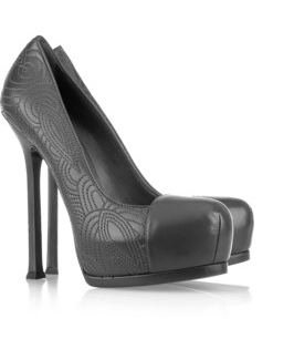 Yves Saint Laurent Tribtoo pumps: dark-gray leather, square stiletto heel measures approximately 125mm/ 5 inches with a concealed 50mm/ 2 inch platform, slate arabesque stitching, almond cap toe. Slip on. $995http://www.net-a-porter.com/product/163965  -Chris E.