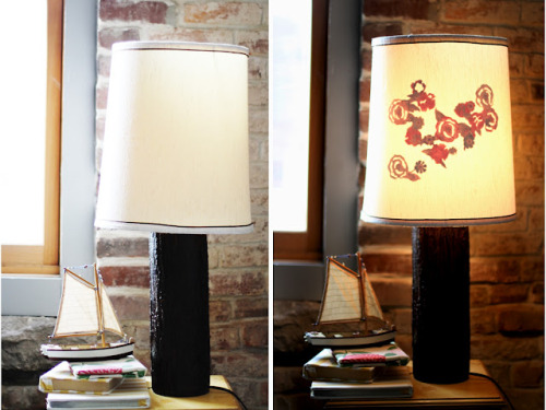 Lampshade silhouette DIY via Sincerely Kinsey