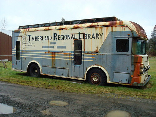 The Final Chapter For A Trusty Bookmobile?  Across America, libraries used to reach out to readers by sending bookmobiles into school parking lots, street corners and rural byways. Now, those rolling reading rooms are becoming scarce — too costly and outmoded, some say.  photo via flickr:CC|WA State Library
