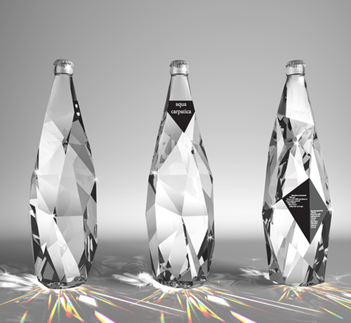 gregmelander:  LIQUID DIAMONDS The angular cuts in the glass of these bottles really is a cool effect…it makes the liquid look priceless. What a great design.