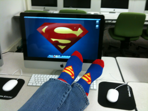 So my socks matched the Superman computer today…