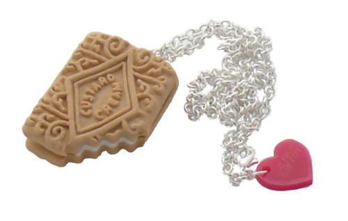 Custard Cream Necklace with a sneeky nibble by Girl From Blue City