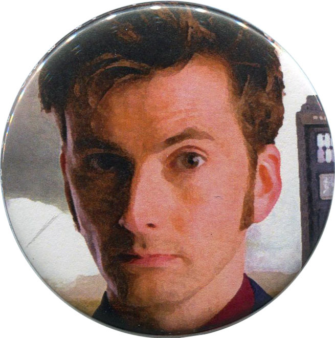 """Tenth Doctor"" available from http://antieuclid.com/tv-movies/doctor-who/tenth-doctor-2-25-round-button-magnet-keychain-mirror.html"