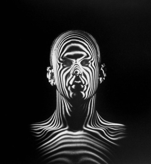 life:  Light beams create a contour map of a human head during an Air Force study of jet-pilot helmets. Originally published, as the cover image, on the December 6, 1954, issue of LIFE. (see more here)