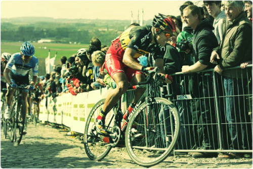 birdandbearcycling:  Hipstmatized bike pr0n. BMC's Philippe Gilbert on the Patersberg at the Tour Of Flanders 2012.  original photo via cyclingnews