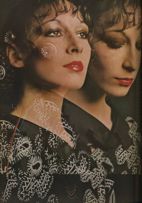 Anjelica Huston in Zandra Rhodes, shot by David Bailey for Vogue UK, September 1971.