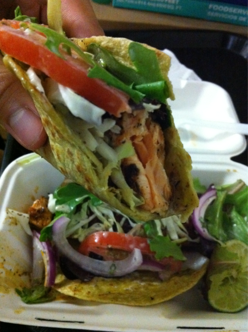 Blackened Salmon Tacos from Turf n Surf  I absolutely love salmon and the flavor on their salmon was perfect! The fresh salad and dressing that they put on their tacos tied everything together really nicely. It was light, refreshing, and ugh! I can eat this all day!