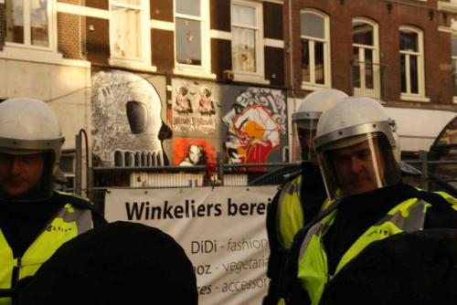 squated house in Amsterdam, evicted 27 of march during eviction wave the graffiti are from la ira, Yatusabes, Anonyous Psichonautes & Nan 101 the shot is from Quemalafoto