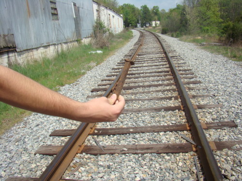 We was 'splorin' on the railroad tracks.