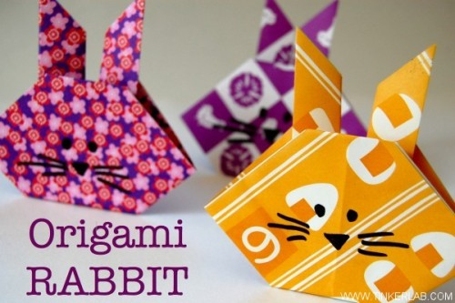 Origami Rabbit tutorial Via Tinkerlab