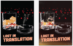 Variations on my Lost in Translation poster. I love the one on the right, but it doesn't look cohesive with the other posters and they're supposed to be sort of like a set. So we'll see what my instructor says I should do. Not sure the text is final in use of font or placement/arrangement/colour