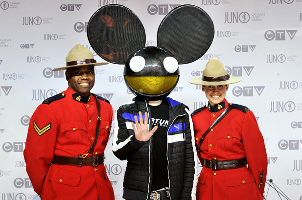 April 1: Deadmau5 poses on the red carpet at the 2012 JUNO Awards at Scotiabank Place in Ottawa, Canada.