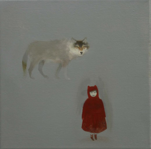 darksilenceinsuburbia:  Sarah Ball. Wolf child, 2010. Oil on linen, 30 x 30 cm. http://www.sarah-ball.co.uk/