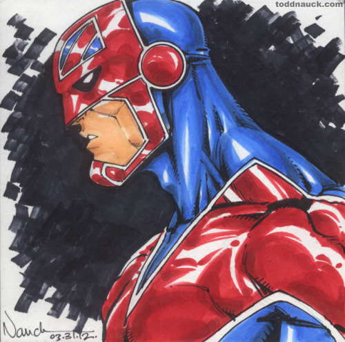 Captain Britain Copic Markers and PigmaMicron Markers.