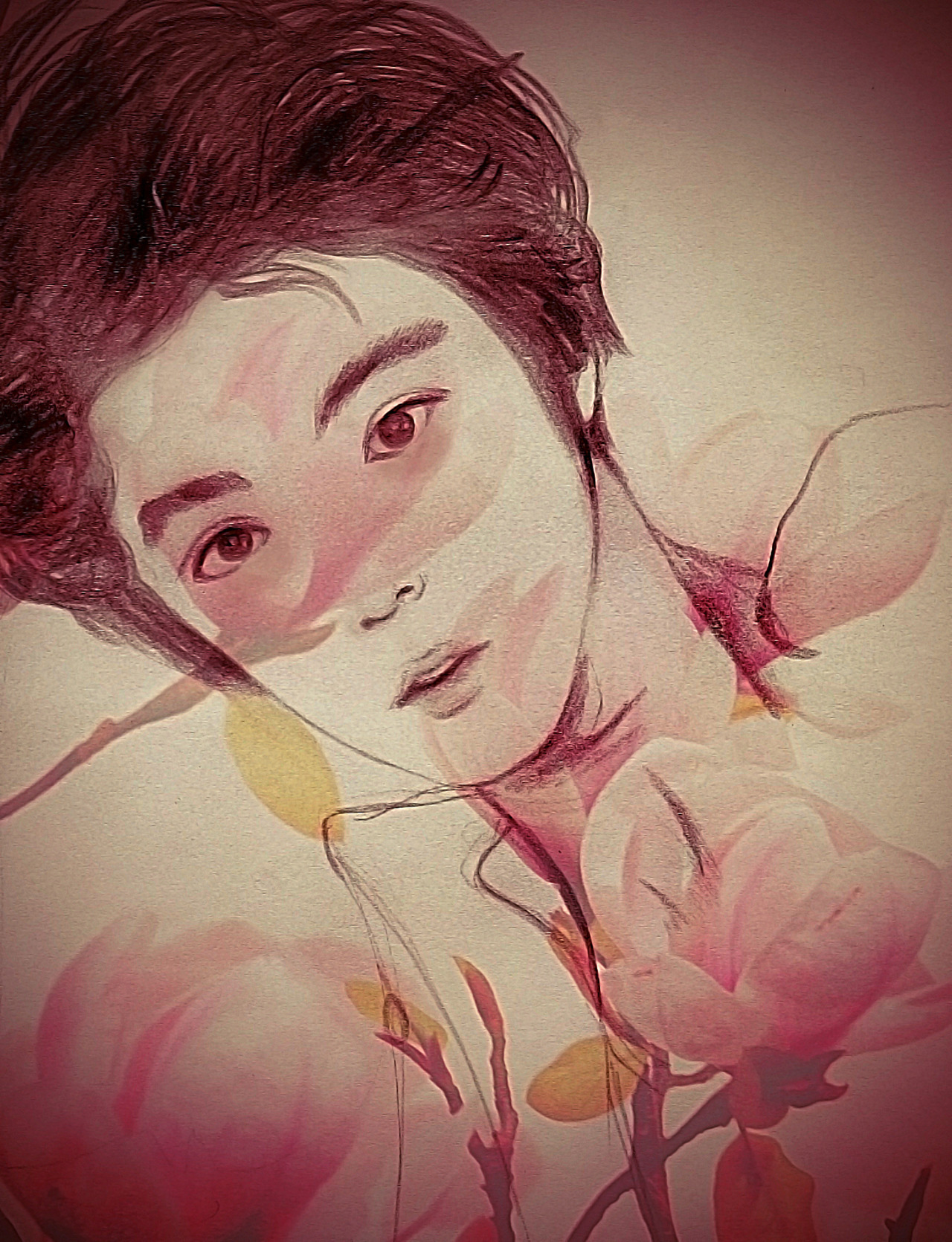 """flower boy"" - EXO's Luhan/ random shitty drawing lmfao"
