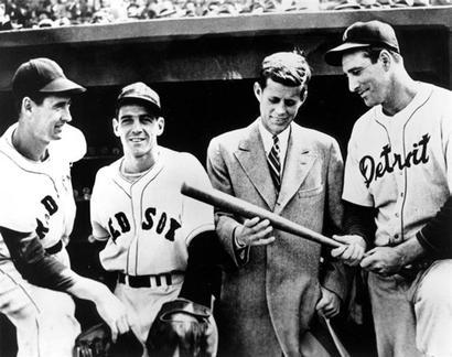 patronsaintofqualityfootwear:  ted williams, eddie pallagrini, john f kennedy, and hank greenberg at fenway park | april 1946 | unknown photographer