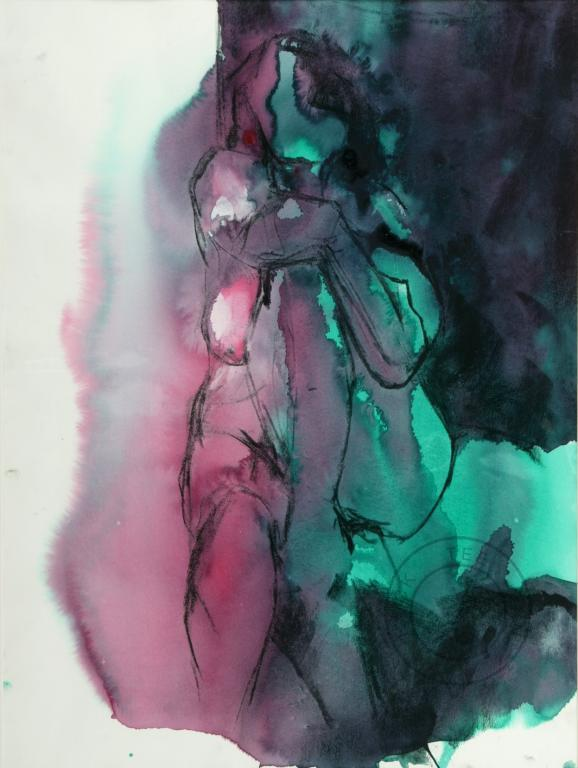 Seated girl pink & green, Hockteetan. Mixed Media on paper 840mm x 595mm