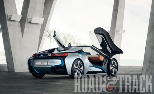 The BMW i8 Concept Spyder will be the head-turning, range-topping plug-in hybrid sports car. (Source: Road & Track)