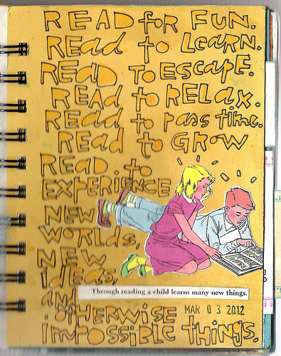Need a reason to read?  coreymarie:  Reasons to Read… 063/366 Art Journal Pages (by coreymarie♥com)