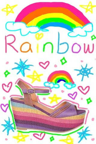 Rainbow shoes from Delias. I decided to doodle around it with an app, ArtStudio Lite.