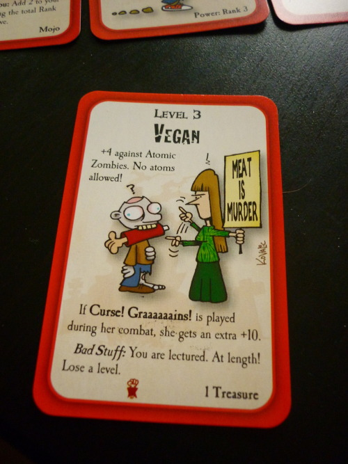 fromsoiltoflight:  Played Munchkin Zombies for the first time yesterday and I laughed out loud when I got this card (I'm vegan by the way ^^)  OMG. Love Munchkin! I really want to play the zombie one now. :D