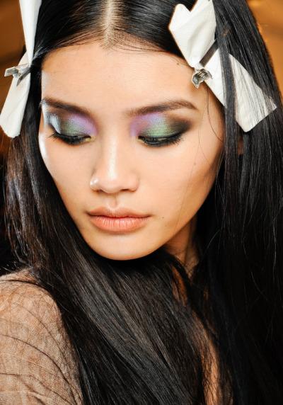 eyeshadow. Ming Xi backstage at Roberto Cavalli, Fall 2012