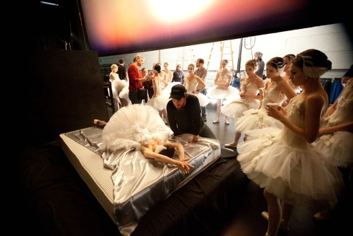 On the set of Black Swan (dir. Darren Aronofsky)