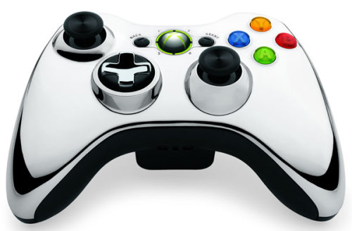 videogamenostalgia:  Microsoft is set to unveil a series of new Xbox 360 controllers, dubbed the Chrome Series. Controllers will be available in red, blue, and silver, and will cost $54.99. Availability will vary upon region. [gameinformer.]  Microsoft releases this after I have this one for only 6 months. I can't decide which one I want…probably silver. Good thing my birthday is coming up.
