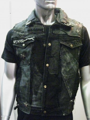 "FSLA ""Leather Damage"" Vest Handmade Denim Vest with Leather Patchwork, Detailed Stitching and Hardware. Avaliable in stock in M/L. Designed by Cody Varona."
