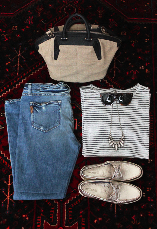 Celine sunglasses | Pamela Love necklace | Alexander Wang shirt + bag | Paige Denim jeans | Sperry Top-Sider shoes (image: lefashionimage)