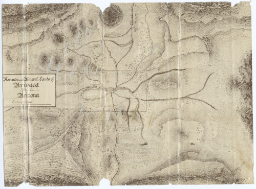 riversidearchives:  Map Monday! This is a map showing hacienda and mineral lands of Arivaca Arizona, included in a case file for the Arizona Court of Private Land Claims from 1891-1903.