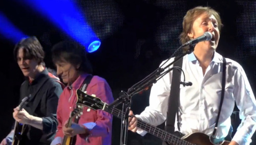 "Ronnie Wood, Paul Weller and Roger Daltrey joined the former Beatle for ""a bit of rocking out"" on a fantastic version of Get Back. Check out the video for a great trade-off between Paul and Ronnie. [click for article]"