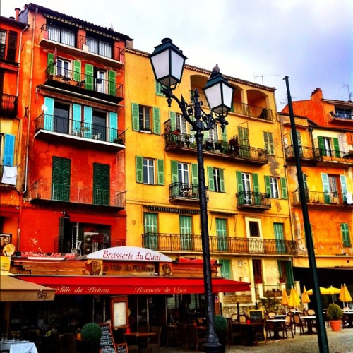 Colorful architecture #building #architecture #nofilter #france #cotedazur #french #coastline #coast #sea #village #colorful #vilefranche (Taken with Instagram at Villefranche Sur Mer)