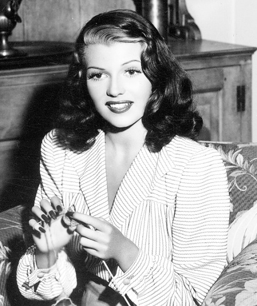 vintagesonia:  Rita Hayworth knitting while taking a break on the set of you'll Never Get Rich (1941)