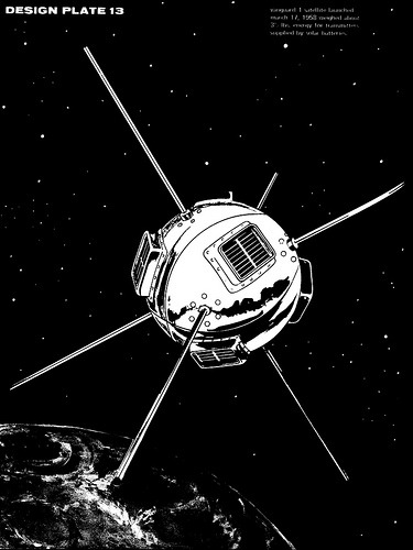 "An illustration of the Vanguard 1 satellite, launched in 1958, by turkeychik. The image was used in Alice Gorman's article in The Conversation, Saving space junk, our cultural heritage in orbit:  One of the most significant pieces of ""space junk"" is the US satellite Vanguard 1. Launched in 1958, this satellite is now the oldest human-made object in space.   Historians argue that the infrastructure set up for Vanguard 1 – including tracking stations in Australia – shaped all subsequent US space programs. That's a lot of cultural significance packed into an aluminium sphere the size of a grapefruit (as USSR leader Nikita Khrushchev disparagingly called it)."