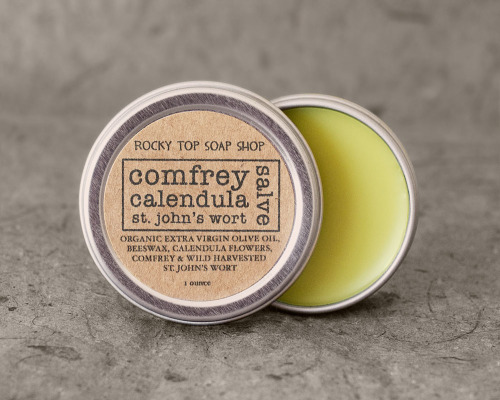 We have been making this particular salve for years. Although we have experimented with other combinations in the past, this is the one that stands out as the most versatile and we always make sure to have it on hand. We think it's the best combination for everything that we need a salve to do. Originally formulated by Rosemary Gladstar, this recipe has been around since the 70's and has stood the test of time. Comfrey, calendula, and St. John's wort work in perfect harmony. We find this simple salve useful for all manner of bumps, burns, bites and scrapes.