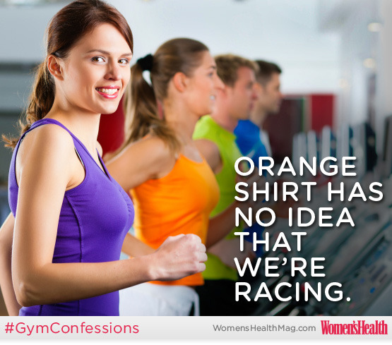 Gym Confessions: Treadmill Racing Sad but true. If you're doing an easy run and you want to avoid the intrusion of wandering eyes—or you just don't want to check the display compulsively—set the treadmill for the amount of time you want to run, then put a towel over the display. You'll be surprised at how nice it feels to run when you're not watching the 'mill tick off every hundredth of a mile, and when no one else can see your pace. Tell us: Do you race other people on the treadmill? What are your other gym confessions? (Tweet @WomensHealthMag with hashtag #GymConfessions!) More from WH:Treadmill WorkoutsRunning For Weight LossBest Running Tips Photo: iStockphoto/Thinkstock
