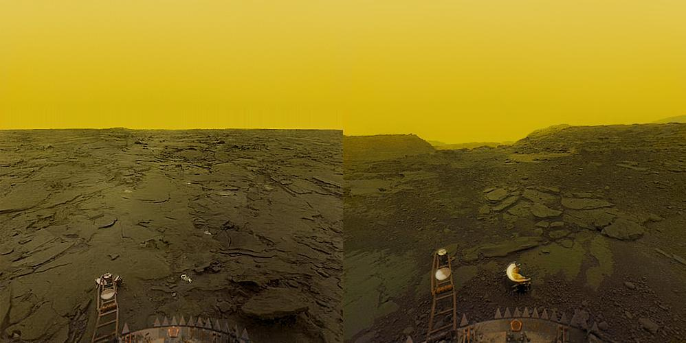 astrotastic:  project-argus:  oplik:  The surface of Venus as seen by the Venera Landers (They were soon crushed under the massive pressure)  Sick, in both senses of the term.  Wow, look at that sky!  cheyenne look look its venus look