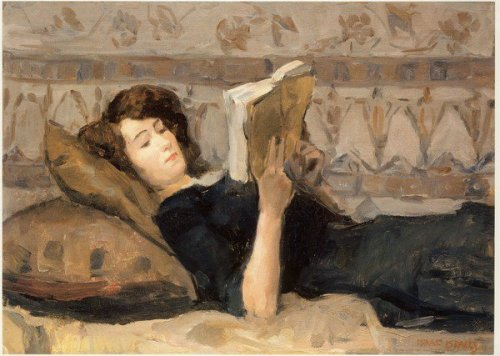 colourthysoul:  Isaac Israels - Reading girl on a sofa (1920)