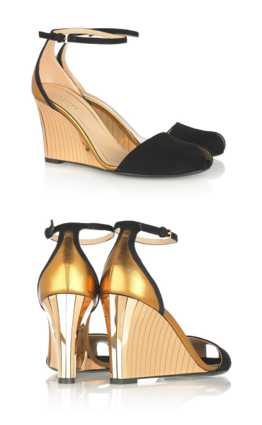 The very Art Deco suede and metallic wedge sandals by GUCCI   via what-do-i-wear