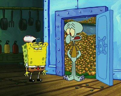 "constalationsinruin:  ""You like Krabby Patties don't you Squidward?"""
