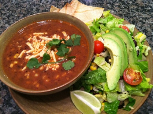 Super easy, super good summer meal: Happy Herbivore Black Bean & Salsa Soup with a southwest style salad (load up romaine with black beans, roasted corn, tomatoes, black olives, onion, avocado, and anything else that sounds good; toss with fresh lime juice, cilantro, and Tobasco).