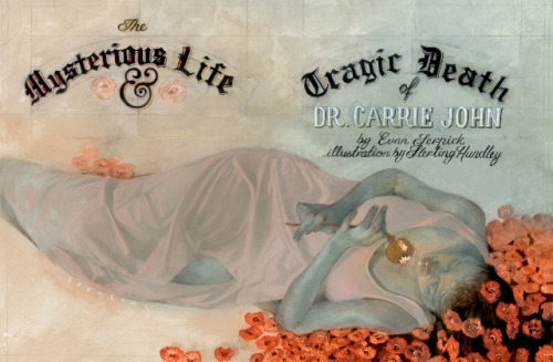 "Title: ""The Mysterious Life and Tragic Death of Dr. Carrie John"" Artist: Sterling Hundley: http://www.facebook.com/BlueCollar.WhiteCollar"