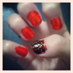 "District 12 inspired coal nails ""Riveting"" Hunger Games nail polish by China Glaze ""Electrify"" Hunger Games nail polish by China Glaze ""Black Shatter"" OPI nail polish"