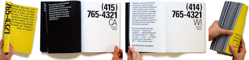 Rachel Berger: Phonebook documenting calls to every 765-4321 phone number in America