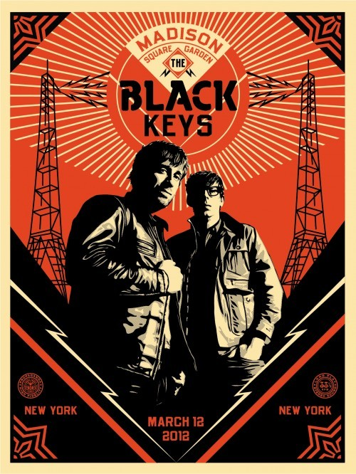 Black Keys Portrait / Obey Print for The Black Keys recent gig at Madison Square Gardern, March 12. Speaking of Obey, here is some thoughts from Shepard Fairey on graffiti, or any creative form for that matter. Wise words..  What does underground mean? Punk rock and hip hop are not underground. That whole mainstream vs. underground thing is a load of crap. People who whine about a thing becoming successful are just jealous. It all depends on quality and intent. If something retains its integrity and quality, people shouldn't mind if it becomes popular. Exploiting a style just because it is popular sucks, and any artist, graffiti or otherwise, shouldn't participate in a project unless it's proponents desire to understand and perpetuate the culture and perspective from which the artist comes. I have this unrealistic notion that exposure for graffiti is positive through any channel that gives positive representation, which may or may not be fashion. I think expanding acceptance of graffiti expands freedom of speech and genuinely helps democratize things for the individual in this spectator democracy. Graffiti is very liberating and that shouldn't be reserved for the cool underground. That's a selfish mentality.
