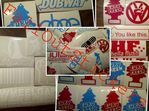 www.falloutstickers.com quality vinyl, low prices, world wide shipping. don't forget, we do custome. Your design, your colour. :)