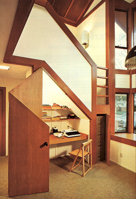 fuckyeahwoodpaneling:  deskunderstairs.jpg by The Red Jet on Flickr.