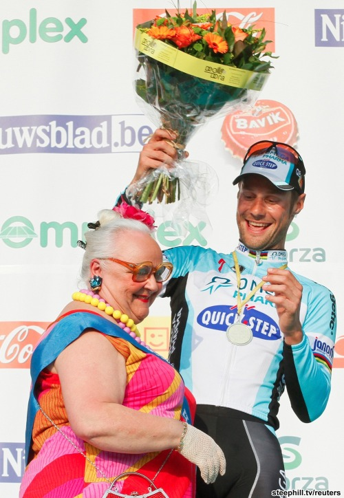 E3 Prijs Vlaanderen-Harelbeke 2012 Tom Boonen and 66 year old podium lady Germaine. (via 2012 e3-prijs-vlaanderen-harelbeke photos page-01)